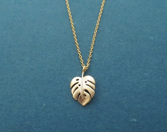 Monstera foliage necklace Nature tropical leaf necklace Gold Silver necklace Anniversary gift Birthday gift Housewarming gift Friend gift