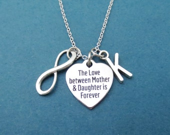 Personalized, Letter, Initial, The Love between Mother & Daughter is Forever, Inifinity, Charm, Silver, Necklace, Mother, Daughter, Gift