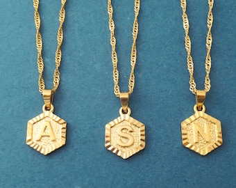 Personalized gift, Capital letter, Hexagon, Initial, Medellion Gold, Stainless steel, Necklace, Birthday, Friendship, Gift, Jewelry