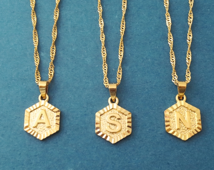 Featured listing image: Personalized gift, Capital letter, Hexagon, Initial, Medellion Gold, Stainless steel, Necklace, Birthday, Friendship, Gift, Jewelry
