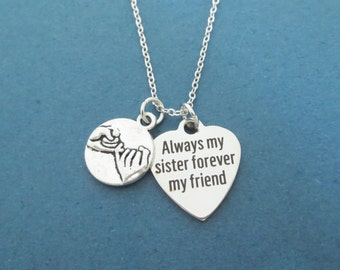 Always my sister forever my friend, Pinky, Promise, Heart, Silver, Necklace, Birthday, Best friends, Sister, Gift, Jewelry