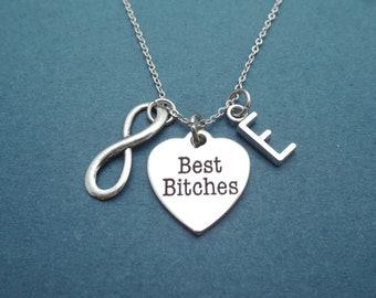Personalized, Letter, Initial, Infinity, Best bitches, Necklace, Birthday, Best friends, Friendship, Gift, Jewelry