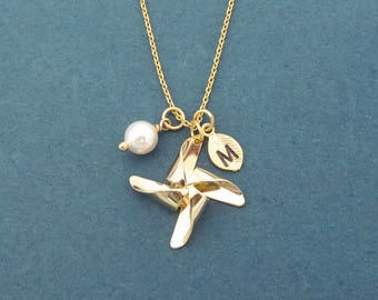 Personalized, Letter, Initial, Pinwheel, White, Pearl, Gold, Necklace, Birthday, Best friends, Sister, Gift, Jewelry