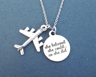 Airplane, she believed, she could... so she did, Silver, Necklace, Goal, Acheivement, Going abroad, Business trip, Traveller, Wanderer, Gift