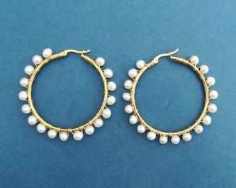 Pearl hoop earrings Freshwater pearl earrings Large hoop earrings 2inch diameter hoop ring Gift for her Gift for women Gift for mom