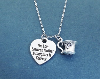 The Love between Mother & Daughter is Forever, Mug, Heart, Silver, Necklace, Mother, Daughter, Love, Gift, Jewelry