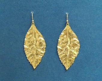 Leaf earrings, Gold filled/ Sterling silver hook earrins, Golden Leaf, Silver Leaf, Leaf Jewelry, Leaf Earrings