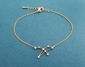 Cubic Zodiac 12 signs adjustable bracelet, Gold/ Silver/ Rose gold bracelet, Astrological sign bracelet, Gift for birthday, Christams