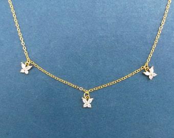 Three Butterfly Necklace, Triple Butterfly Necklace, Cubic Butterfly Necklace, Cubic Zirconia, Silver Butterfly Necklace, Gold Butterfly