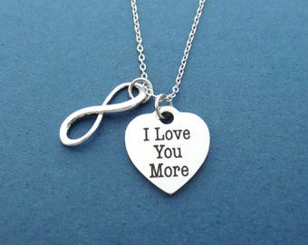 Infinity, I Love You More, Heart, Silver, Necklace, Love, Heart, Necklace, Birthday, Lovers, Best friends, Gift, Jewelry