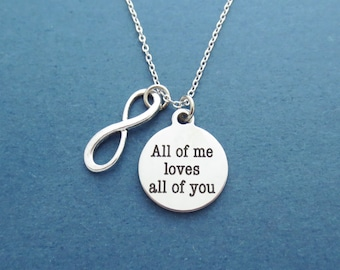 All of me loves all of you, Infinity, Silver, Necklace, Infinity, Love, Necklace, Birthday, Lovers, Best friends, Valentine, Gift, Jewelry