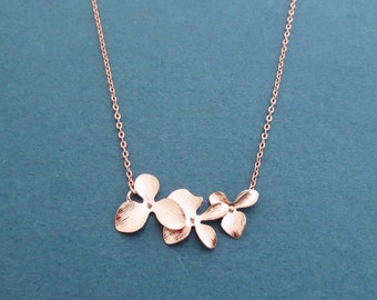 Orchid, Gold, Silver, Rose gold, Necklace, Birthday, Wedding, Best friends, Sister, Gift, Jewelry