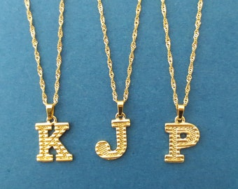 Personalized initial necklace • Gold stainless steel over brass necklace • Name necklace • Upper case necklace • Alpabet letter necklace