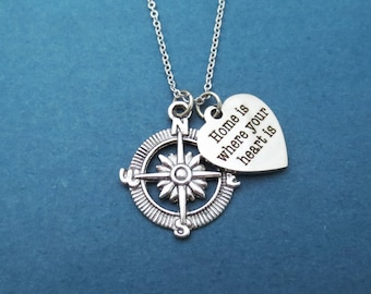 Compass, Home is where the heart is, Silver, Necklace, Heart, Compass, Traveller, Birthday, Prom, Gift, Jewelry, Accessory, Necklace