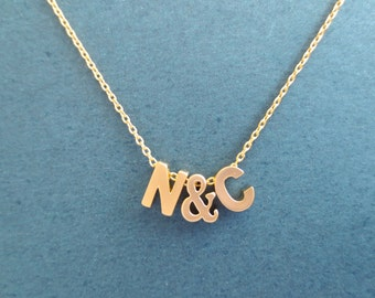 Personalized, Letter, Initial, Ampersand, Letter, Initial, Gold, Necklace, Custom, Initial, Necklace, Birthday, Best friends, Gift, Jewelry