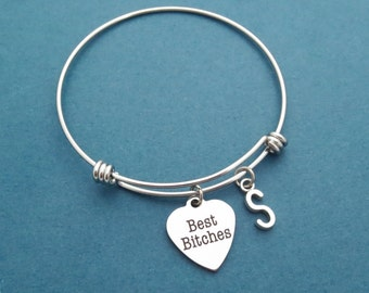 Personalized, Letter, Initial, Best Bitches, Heart, Silver, Bangle, Bracelet, Birthday, Best friends, Friendship, Gift, Jewelry