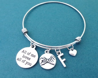Personalized, Letter, Initial, All of me loves all of you, Pinky, Promise, Tiny, Heart, Silver, Bangle, Bracelet, Lovers, Best friends, Gift