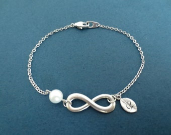 Personalized, Letter, Initial, Pearl, Infinity, Sign, Silver, Bracelet, Birthday, Best friends, Lovers, Christmas, Gift, Jewelry