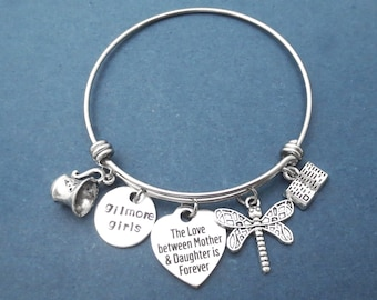Gilmore girls, The love between Mother & Daughter is Forever, Heart, Dragonfly, Mug, Coffee, Cup, Book, Silver Bangle, Gift for women