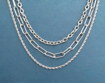 Set of 3, Stainless steel chain necklace, Stainless steel,necklace,chain,chain necklace,steel chain,steel necklace,stainless chain,jewerly