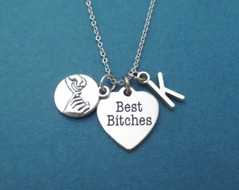 Personalized, Letter, Initial, Best bitches, Pinky, Promise, Silver, Necklace, Friendship, Best friends, Graduation, Gift, Jewelry