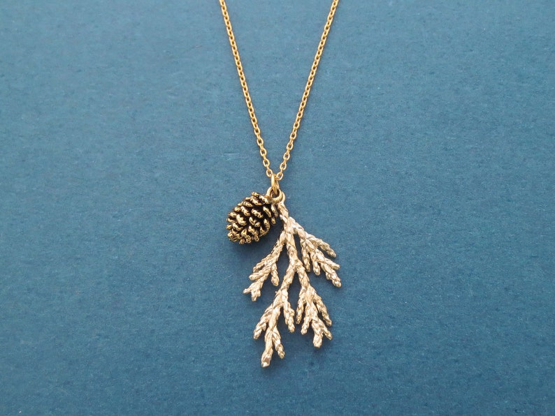 Forest necklace Pine tree necklace Pine cone necklace Gold image 0