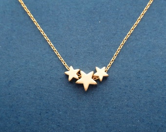 Tiny triple star necklace, 3 star necklace, Gold/ Silver/ Rose gold necklace, Star gift, Dainty gift, Cute gift, Valentine's day gift