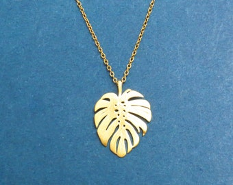 Monstera foliage Large necklace Nature tropical leaf necklace Gold Silver necklace Anniversary gift Birthday gift Housewarming gift Friend