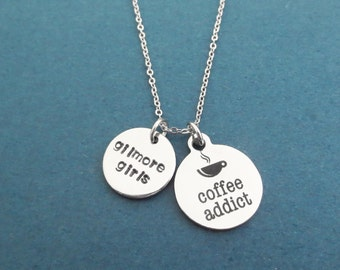 Coffee addict, gilmore girls, Silver, Necklace, Coffee, Lorelai, Rory, Luke's, Stars hollow, Coffee, Gift, Jewelry