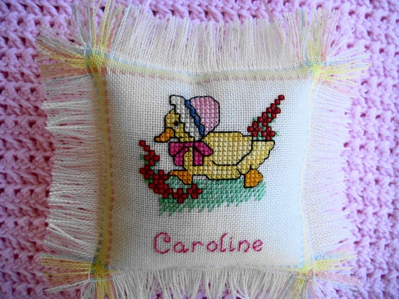 Personalized Baby Duck Cross Stitch Pillow, Hand Stitched with Baby's Name  & Birthdate, Unique Baby Gift or Keepsake