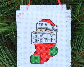 1st Christmas Ornament Baby's First Christmas Handmade Cross Stitch Dated Personalized Xmas Embroidered