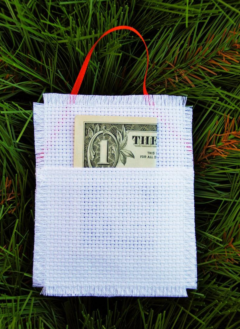 Santa Emoji Gift Card or Money Holder Christmas Ornament Custom Cross Stitch Hand Stitched Personalized