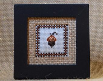 Acorn Cross Stitch Framed