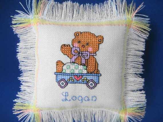 Baby Bear Pillow, Hand Stitched with Cross Stitching, Personalized with  Baby's Name & Birthdate, Unique Baby Gift or Keepsake Pillow