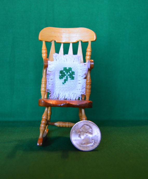 Irish Shamrock Handmade Miniature Dollhouse Throw Pillow Cross Stitch Embroidered with Fringe