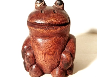 Vintage Happy Frog / Toad Sculpture. Hand Carved Wooden Animal. Mid 20th Century Figurine Retro Art Statue. Collectible Display Homeware