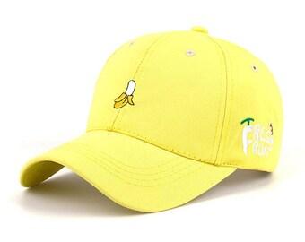 Banana Fruit Women's Dad Baseball Hat in Bright Yellow Black Adjustable Cap