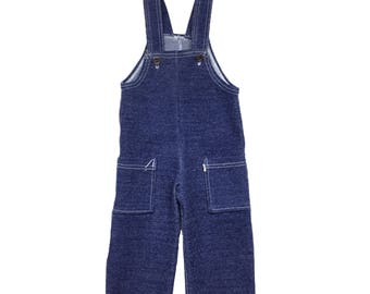 Vintage 1970s 70s french blue baby dungarees clothes 0-3 months