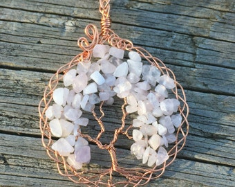 Rose Quartz Tree Of Life necklace, wire tree of life, tree necklace, rose quartz necklace, tree of life jewelry, wire wrapped tree of life
