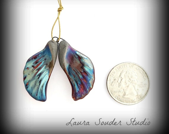 "Raku Fired ""Angel Wing"" Pair Blue heaven"