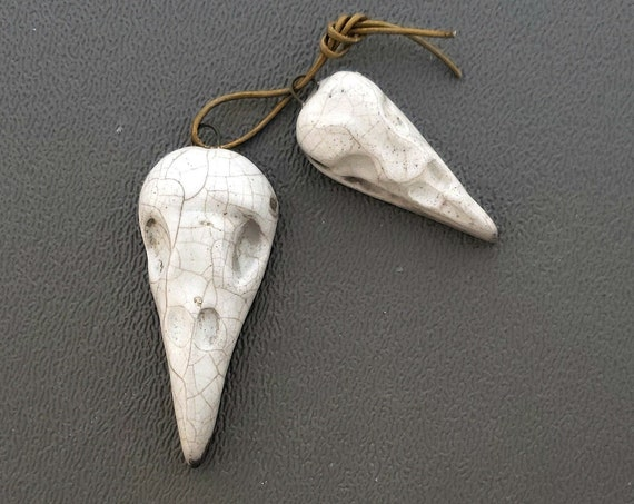 "Raku Fired ""Raven Skull Dragon Wing"" Set"