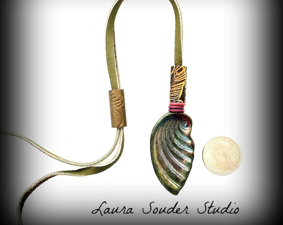 "Raku Fired "" Shell"" Deerskin Necklace"