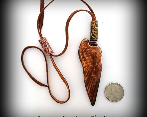 "Raku FIred ""Jumbo Wing"" Deerskin Necklace"