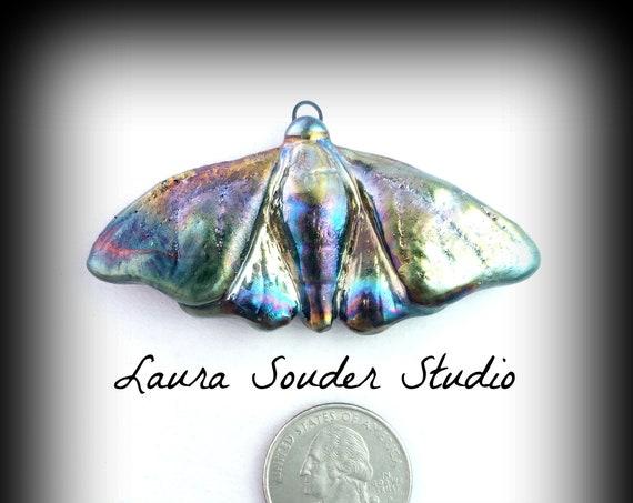 "Raku fired ""Moth""pendant"