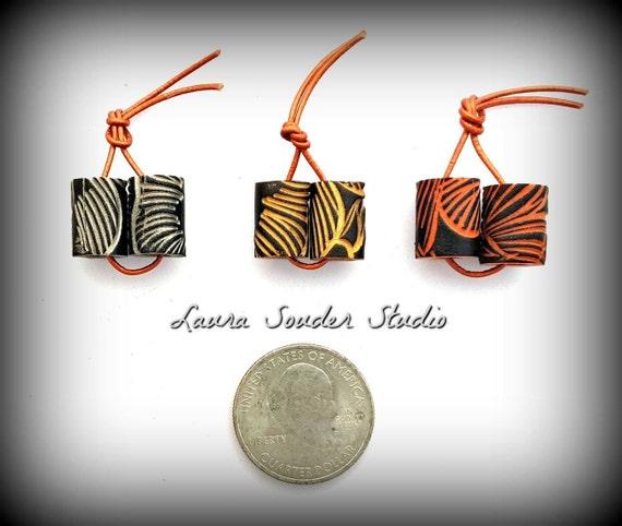 "Handmade Polymer ""Petals""Tube Bead Pairs"
