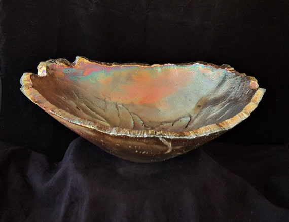 Bowl, Raku Vessel, Home Decor, Ceramic Bowl, Ceramic, Abstract, Organic Bowl, Gift For Women, Gift for Him, Father's Day Gift, Birthday Gift