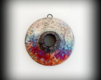 Ceramic Pendant, Raku Pendant Necklace Pendant Pendant Necklace Organic Disc Pendant Ceramic Cabochon Donut Bead Gift For Her Gift For Women
