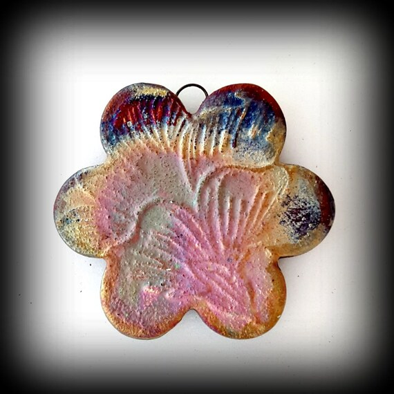 "Raku Fired ""Petals"" Pendant/Necklace"
