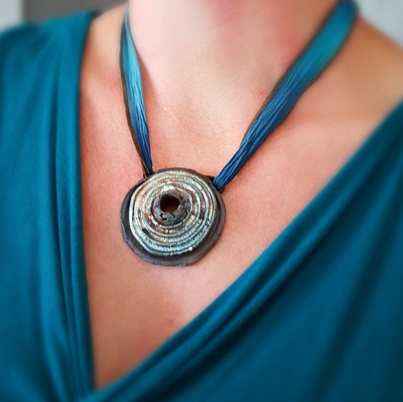 "Raku Fired  Organic ""Volcano"" Necklace"