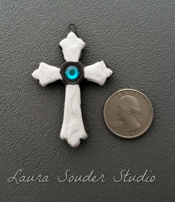 Raku Cross, Ceramic Jewelry, Raku Jewelry, Vintage Cross, Swarovski Crystal, Handmade Supply, Religious Jewelry, Gothic Pendant, Gift Artist